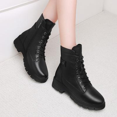 百年紀念Centenary【頭層牛皮】真皮秋冬加絨女靴子棉鞋厚底女馬丁靴2255
