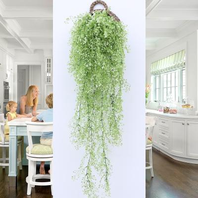米魁仿真花藤條花藤假花絹花金鐘柳壁掛客廳空調管道墻面裝飾室內植物 乳白色 西瓜葉兩支(送籃