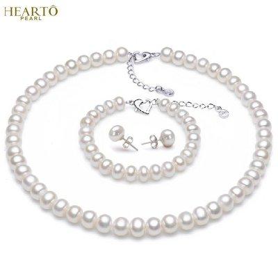 海瞳 淡水珍珠項鏈 10-11mm 扁圓大顆珍珠項鏈接三件套裝 首飾套裝 珍珠