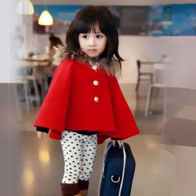 宝宝红色斗篷秋冬装女童加绒加厚外套儿童中大童披肩婴儿外出披风莎丞