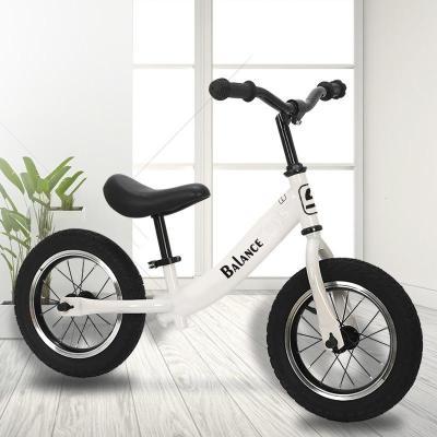 兒童扭扭車搖搖車溜溜車扭扭車新款 兒童平衡車 無腳踏兩輪自行車12寸寶寶滑步車適合身高80-130搖搖車兒童 白色 12