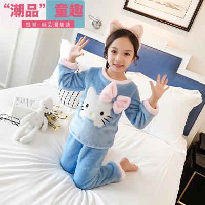 女童秋冬寶寶珊瑚絨女孩家居服兒童法蘭絨小孩加厚款睡衣套裝冬季  EddieEva
