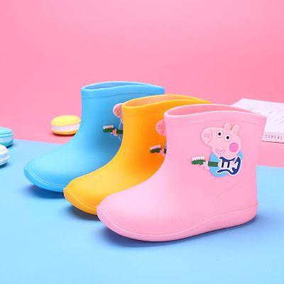輕便可愛中大童雨鞋防滑保暖水鞋男童女童寶寶加絨雨靴公主小童膠鞋