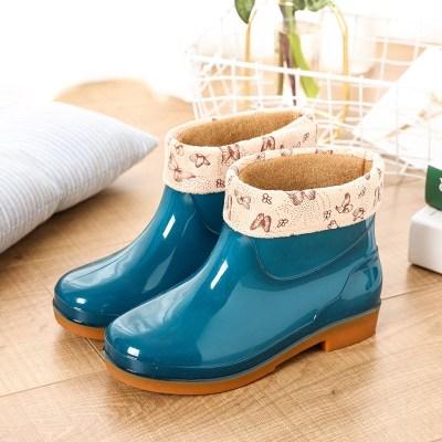 臻澀雨鞋女短筒時尚加棉水鞋低筒加絨雨靴成人女士防滑廚房工作膠鞋女