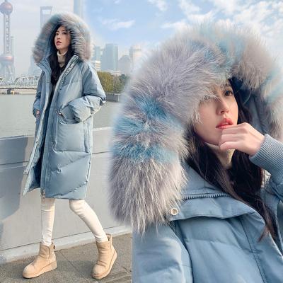 TOGOLUNE羽绒服女中长款2019冬季新款男女童大毛领童装亲子外套