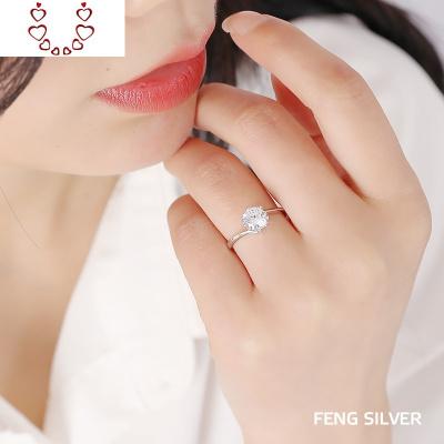 仿真鉆戒女純銀六爪婚戒水晶大鉆求婚表白戒指個性刻字送女友 Chunmi水晶戒指