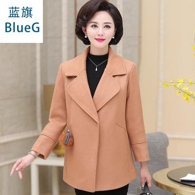 藍旗(BLUEG)女士中老年秋冬中長款媽媽裝氣質高貴毛呢大衣