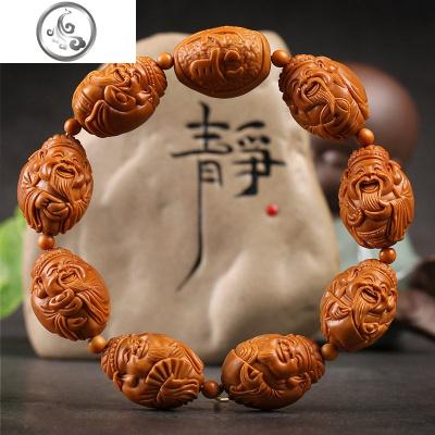 橄榄核手串男1.8大籽 官帽财神核文玩把件 橄榄胡刻手链精品   JiMi