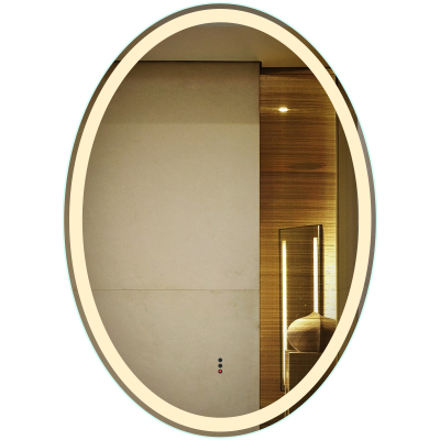 法蘭棋智能無框橢圓形衛生間鏡子壁掛帶燈LED防霧燈鏡掛墻廁所浴室鏡子浴室鏡