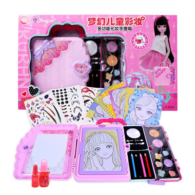 兒童多功能化妝盒套裝公主彩妝手提箱安全無毒女孩玩具生日禮物 129
