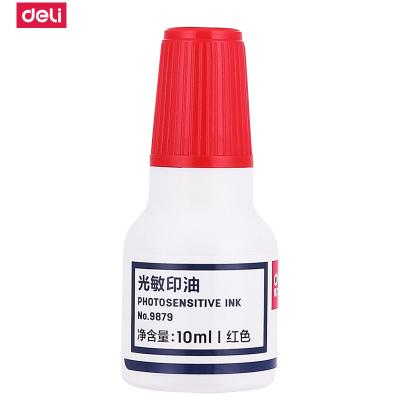 得力(deli)9879光敏印油 印章/印台使用印油色彩鲜明10ml/瓶 红色 5瓶
