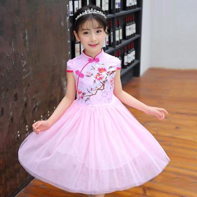 女童公主蓬蓬纱裙舞蹈连衣裙短袖涤纶碎花百褶裙儿童裙子涤纶 莎丞