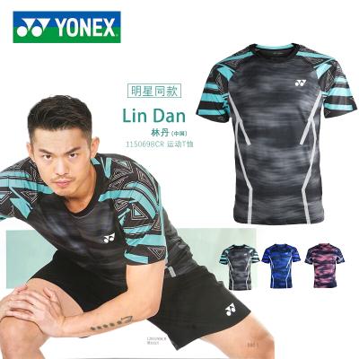 尤尼克斯(YONEX)羽毛球服上裝19年新款男女款速干衣短袖T恤團隊比賽服林丹同款115069BCR聚酯纖維材質干爽舒適