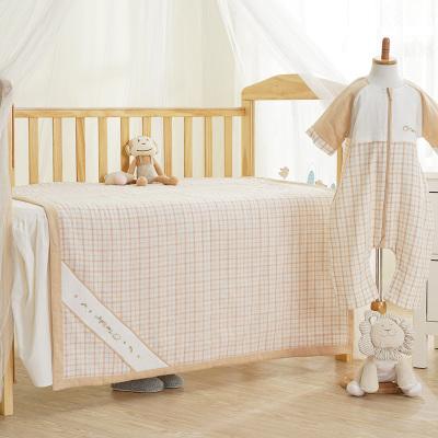 倆個寶寶六層紗布夏被寶寶毛巾被純棉空調被毯子單人雙人被子夏涼被嬰兒童被毯夏季蓋毯純色棉花格紋110*140cm