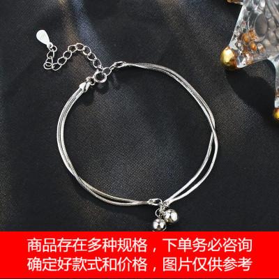s925纯银双层铃铛手链韩版简约创意冷淡风设计小众学生手环礼物女