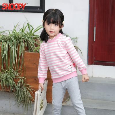 史努比(SNOOPY)童裝兒童長袖衛衣女童純棉秋裝新款4-12歲童寶寶荷葉邊領套頭衛衣兒童藍條紋粉條紋色90-140CM