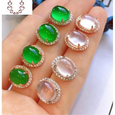 珠寶原創設計925純銀鑲嵌綠玉髓耳釘陽綠翡翠白玻璃種耳飾 Chunmi