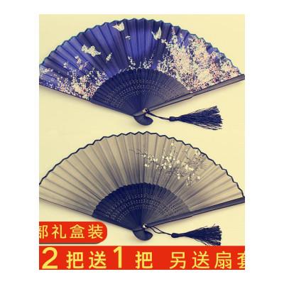 美幫匯扇子折扇中國風古風女日式小復古布夏季和風跳舞舞蹈折疊古典古裝LYGP