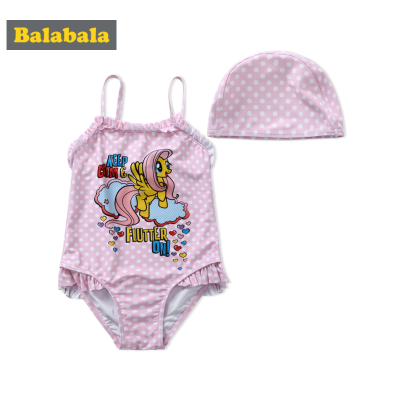 巴拉巴拉兒童泳衣女童連體游泳衣夏裝小童寶寶三角是泳裝
