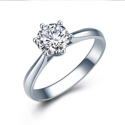 佐卡伊 经典铂金六爪钻戒婚戒正品求婚结婚女戒pt950白金钻石戒指