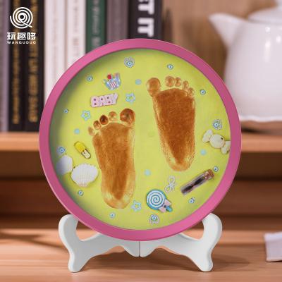玩趣哆WANQUDUO寶寶手足印泥手腳印手印新生嬰兒童胎毛紀念品永久滿月百天禮物礦物泥F-20黃泥