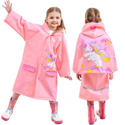 明嘉mefine 兒童雨衣男女童環保EVA雨披帶書包位加厚可愛卡通雨具徒步雨衣小學生充氣帽檐單人雨衣