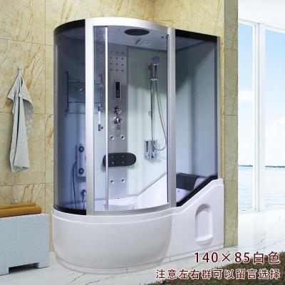 整体淋浴房带冲浪蒸汽洗澡间一体式浴室桑拿房泡澡带浴缸钢化玻璃 140*85白色 不含蒸汽