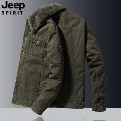 jeep吉普正品冬季加厚棉衣男寬松大碼保暖夾克加絨翻領工裝純色外套男