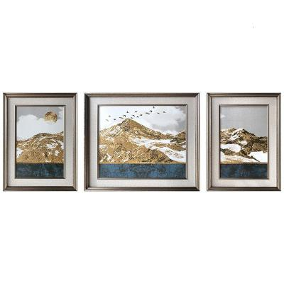 高山之巔 600*800X2+900*800mmX1黑色鋁合金框整代輕奢客廳裝飾畫 新中式沙發背景墻掛畫畫瓷板