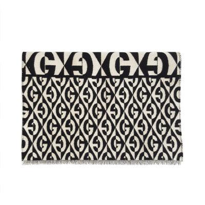 【正品二手99新】古馳(GUCCI)圍巾 黑白色G 菱形提花披肩 595720 91%羊毛,9%棉 含盒