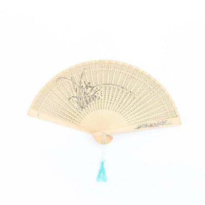 木质扇子礼品檀香扇古风镂空工艺木扇折扇女式折叠扇礼物-香水扇-兰花
