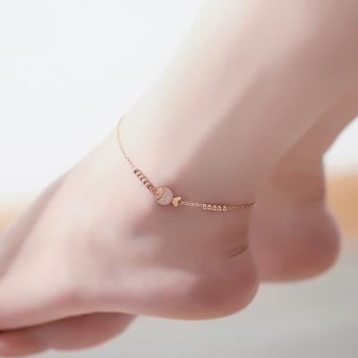 法蔻輕奢品牌簡約個性百搭玫瑰金色腳踝鏈歐美足鏈鈦鋼腳鏈日韓版簡約學生清新