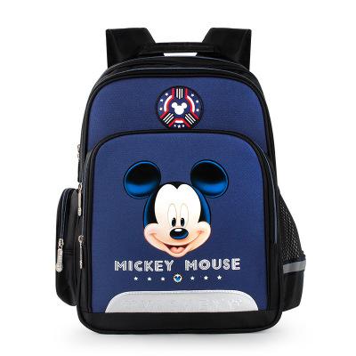 迪士尼(Disney)小學生書包 新款1-3-4年級護脊兒童背包 6-12歲男女孩多功能雙肩書包 藏青色