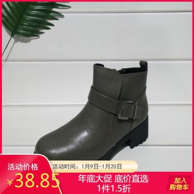 达芙妮旗下鞋柜品牌女靴 冬休闲马丁靴侧拉连加棉保煖百搭短靴