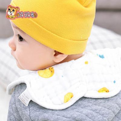 【5條裝】滸滸豹 嬰兒口水巾純棉紗布圍嘴360°旋轉圍嘴新生男女寶寶通用夏季吃飯圍兜
