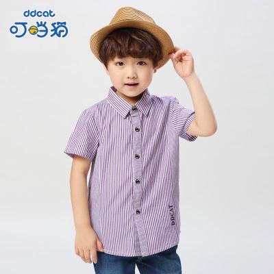 【季末清倉】叮當貓童裝男童韓版襯衫大小童翻領上裝男孩時尚條紋衫兒童短袖襯衣