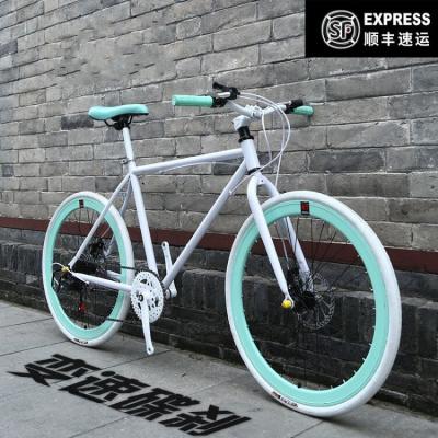 變速死飛自行車男女式活飛單車通勤車公路雙碟剎實心胎成人學生死飛公路車自行車便攜輕巧輕便腳踏車男女變速腳踏車可帶人