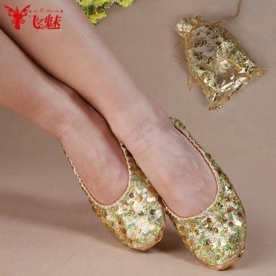 飞魅 肚皮舞鞋子练功鞋软底印度舞鞋子 成人亮片金色肚皮舞舞蹈鞋
