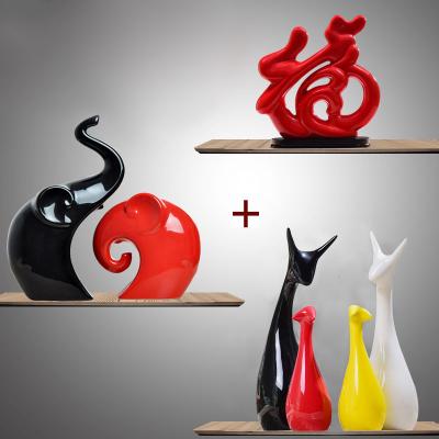 家居創意陶瓷情侶擺件大號客廳動物飾品裝飾品酒柜電視柜擺設