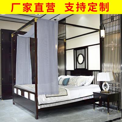 邁菲詩新中式實木架子床中國風復古禪意臥室家具酒店別墅民宿定制結婚床