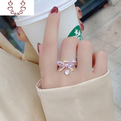 微鑲水晶蝴蝶結戒指女時尚個性ins潮網紅可調節開口食指戒指 Chunmi水晶戒指