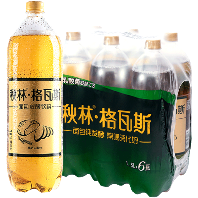 秋林格瓦斯面包乳酸菌發酵飲料 哈爾濱特產1.5l*6瓶