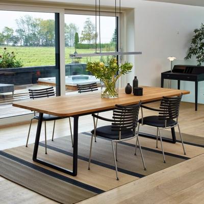 北歐小型會議桌長實木桌簡約現代長方形鐵藝現代簡約會議桌工業風電腦桌辦公桌餐桌