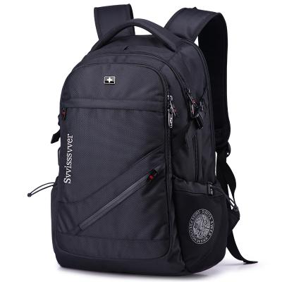 送刀鎖套餐+USB接口 瑞士軍刀背包16英寸雙肩包男電腦包運動休閑包 男女通用書包旅行背包 防水尼龍
