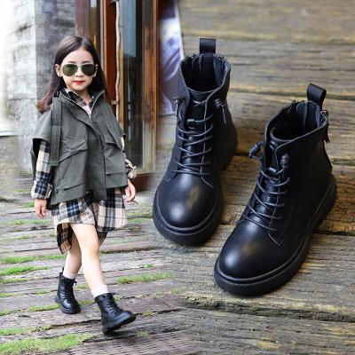 女童馬丁靴兒童短靴春秋單款2020年新款英倫風走秀黑色棉靴子