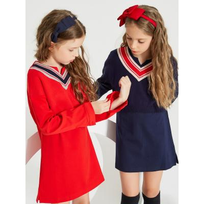 【1件3折价:96】米喜迪mecity童装春夏新款女童假两件连衣裙学院风洋气裙子