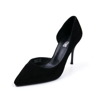 時尚百搭歐美羊皮細跟高跟性感中空淺口尖頭通勤女單鞋