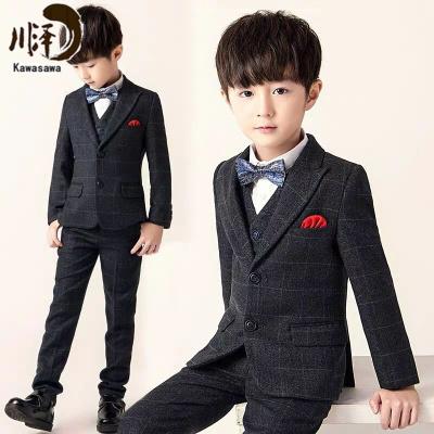 【新品特卖】男童小西装套装儿童西服帅气三件套花童礼服正装英伦加绒加厚秋冬