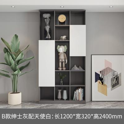 簡約現代客廳滿墻書柜組合落地閃電客展示柜書架書櫥整墻到頂儲物柜 B款:灰配白 1-1.2米寬