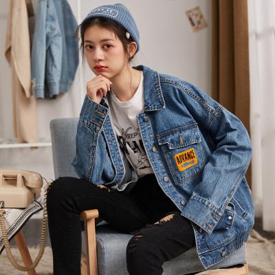 [2件2.5折]唐獅新款春牛仔上衣短款洋氣嘻哈流行bf夾克外套女復古港味